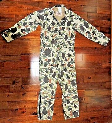 VTG Walls Blizzard Pruf Proof Camo Camouflage Coveralls USA Jumpsuit Hunting Tan