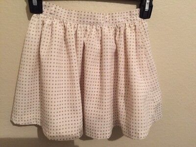Janie And Jack Toddler Girls White w/ Golden Polka Dots Lined Skirt Size 4