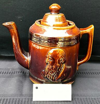 Rare Brantford Pottery Canadian Rockingham Glazed Teapot with Founders Profiles