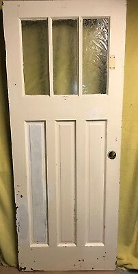 Unique Antique Craftsman Wood Exterior Door /w Glue Chip Glass 32x80 3 Pane