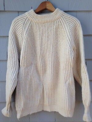 Vintage Made In England Billy Buck Men's Fisherman 100% Wool Sweater Size Large