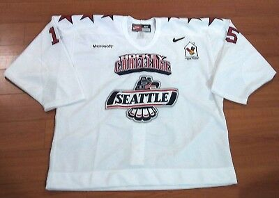 Seattle Thunderbirds Team Issued #15 Game Style Fight Strap Hockey Jersey White