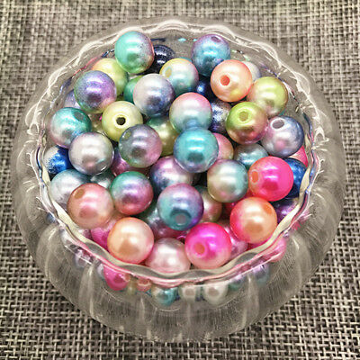 NEW 8MM 50PCS Acrylic Colour Round Pearl Spacer Loose Beads Jewelry Making Mix