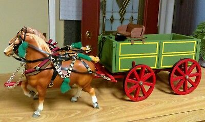 RARE Custom Breyer authentic 1970s chalkie #94 2 Belgian Draft Horses and Wagon