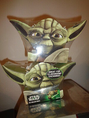 Star Wars 64 Valentines with Yoda Box 2 sets of 32 Paper Magic Group 2013 NEW