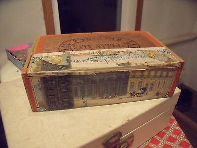 Vintage Antique Old HENRY CLAY HABANA WOOD CIGAR BOX