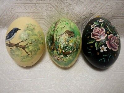 """THree Hand painted Ostrich Eggs 5"""" Signed by Michele Gauthier 2000"""