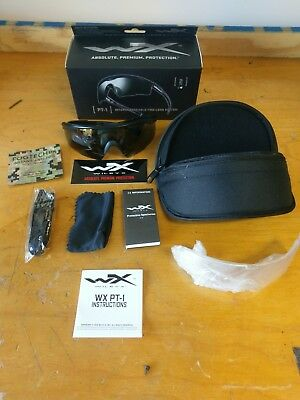 Wiley-X PT-1 Sunglasses w/ Interchangeable lenses (Smoke & Clear) with soft case