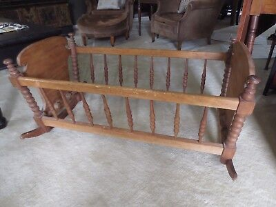 * Antique Wooden Rocking Cradle With Mattress * From Gettysburg Pa * Lovely