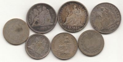 Lot of 7 Old Guatemalan Silver Coins (earliest 1878)...99 cent opening...NR!