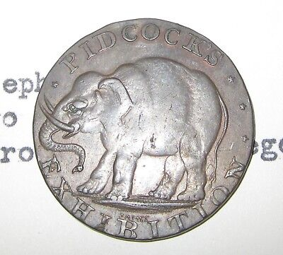 1790's Middlesex (D&H 423a) Pidcock's Elephant 2 head Cow halfpenny Conder token