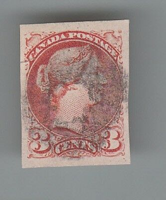 CANADA # 41b  Small Queen Imperf. Fine used...2 scans