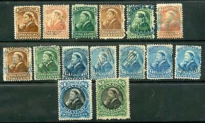 Weeda Canada FB37/FB54 Used collection of QV 1868 Third Bill issue CV $82.45