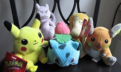 Pokemon Hasbro Beanie babies from 1999 with tags VCG, pikachu, ivysaur, mewtwo.
