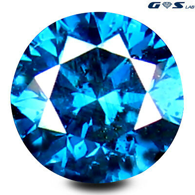 0.34 ct GSL Certified Valuable Blue Color 4 mm Round Cut Genuine Blue Diamond
