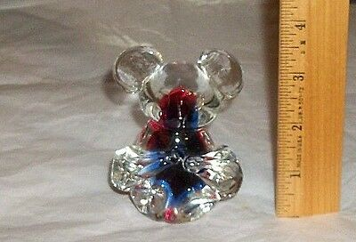 VTG Solid Glass KOALA Figurine Paperweight w Red & Blue Coloring Encased Unique