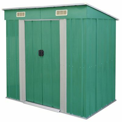 vidaXL Outdoor Garden Patio Shed Tool Storage House with Foundation Green Metal
