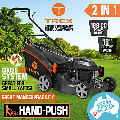 "TREX Lawn Mower Hand Push 169cc 18"" Lawnmower 4 Stroke Catch Mulch 2 in 1 Pickup"