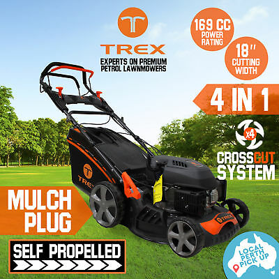 "TREX Lawn Mower Self Propelled 169cc 18"" Lawnmower 4 Stroke Catch Mulch Pick-Up"