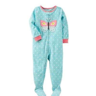 Carters 3T Toddler Girl 1-Piece Butterfly Fleece Footed PJs Winter Pajamas NWT