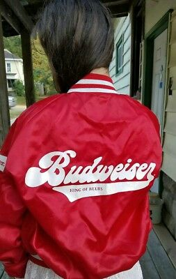 Vintage BUDWEISER Beer Spell-Out Red/White Satin Jacket Adult Size Large RARE