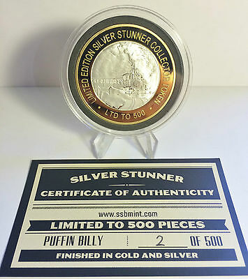 """""""PUFFIN BILLY"""" 43mm """"SILVER STUNNER"""" C/TOR TOKEN/COIN COA 500 made $50 at Mint"""