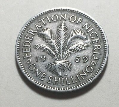 British Federation of Nigeria 1959 One Shilling Coin - Queen Elizabeth II