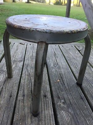 Vintage Industrial Milking Metal Stool Furniture 4 Legged Round Rustic