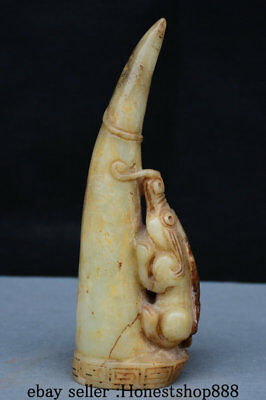 "9"" Chinese Old Antique Hetian Jade Carved Animal Beast Ox Horn Jadeite Statue"