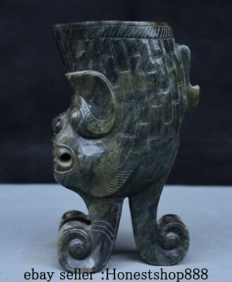 "8"" China Dynasty Palace Old Antique Hetian Jade Jadeite Beast Head Drinking Cup"
