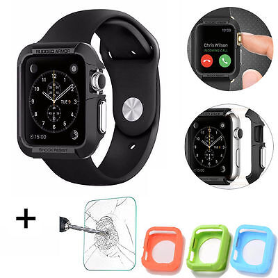 Shockproof Bumper Rugged Apple Watch Case+Tempered Glass For iWatch-Black 42mm