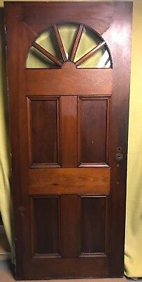 Unique Antique Victorian Wood Exterior Door /w Beveled Glass 34x80 Half-moon