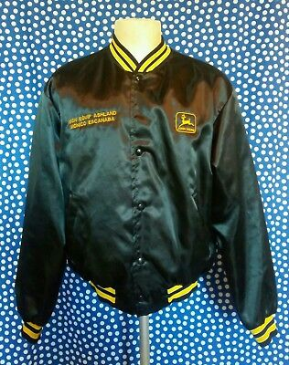 Vintage 1980's John Deere snap up satin bomber work jacket tractor Ashland WI