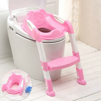 Kids Baby Child Toddler Potty Loo Training Toilet Seat Step Ladder Bear Pink