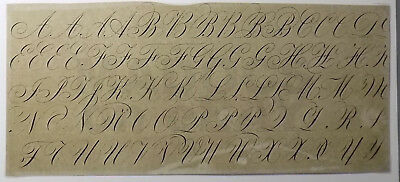 ca 1880 Engravers Script Alphabet Reference Chart Early Photo Print