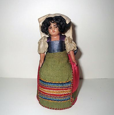 Antique Victorian PINCUSHION Or HATPIN DOLL Old Sewing - BEAUTIFUL