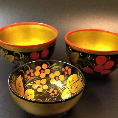 3 X Authentic Russian Khokhloma Gold Leaf Lacquer Wood Bowls - Folk-Art Decor