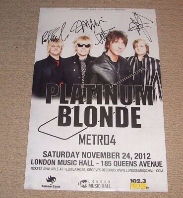 Platinum Blonde - Signed 2012 Concert Poster *autographed By The Band* Rock Band