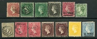 Weeda St. Vincent Lot of 13 Mint and used QV Classic issues, couple minor faults