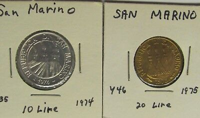 San Marino 10 Lire KM# 33 - 1974 BEE & 20 Lire KM# 44 - 1975 BIRDS  UNCIRCULATED