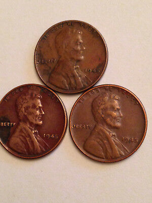1945 Lincoln Wheat Cent Penny Lots Of 3