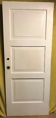 ANTIQUE 3 PANEL WOOD EXTERIOR DOOR 32x80 ARCHITECTURAL SALVAGE