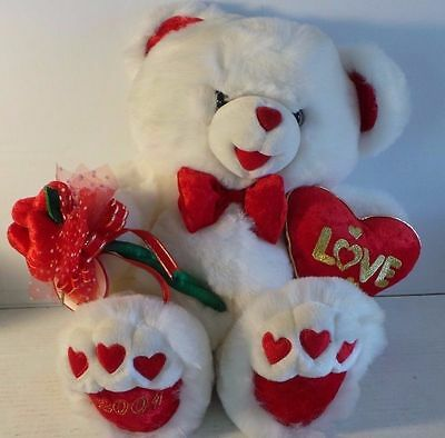 NWT Dan Dee SWEETHEART Teddy Bear snow white plush red hearts bow 2001 19""
