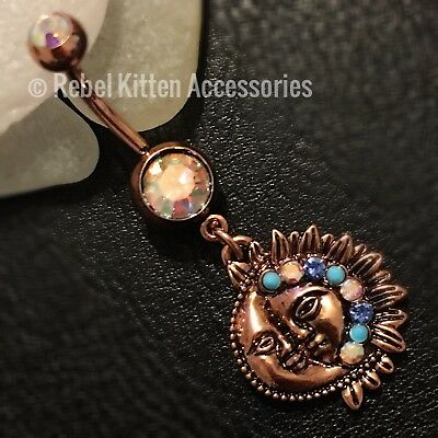 Sparkle Dangle Sun Moon Boho Belly Button Navel Ring Piercing Body Jewelry 14g