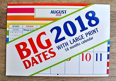 2018 Calendar Big Dates With Large Print 16 Months