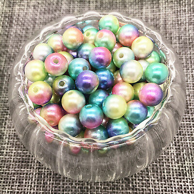 NEW 6MM 100PCS Acrylic Colour Round Pearl Spacer Loose Beads Jewelry Making #05