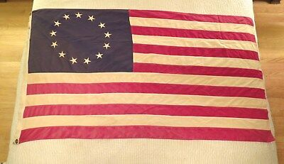Vintage 3' x 5' BETSY ROSS 13 Star Bulldog Bunting AMERICAN FLAG Sewn Cotton