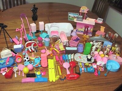 Vintage Lot 148 Barbie Furniture & Accessories~Pets Sports Music Baby And More