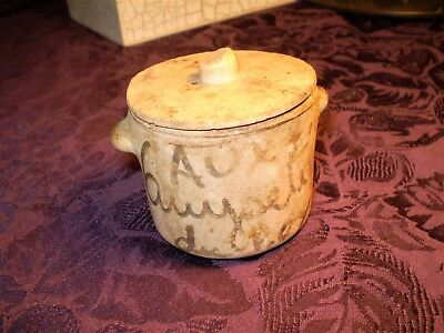"""Vintage FRENCH POTTERY SPICE JAR w/Lid Made in France 2.75"""" Tall Savory Jar"""