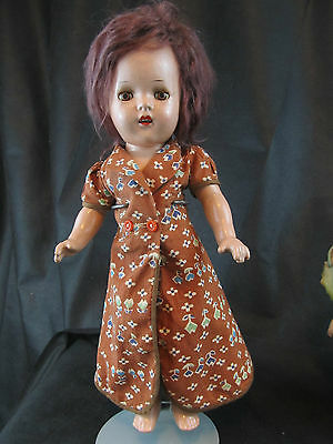 "Vintage Composition Doll 14"" With Aluminum Eyes"